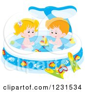 Clipart Of A Caucasian Boy And Girl With Toys In A Whale Swimming Pool Royalty Free Vector Illustration