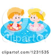 Clipart Of A White Boy And Girl Swimming With Inner Tubes Royalty Free Vector Illustration by Alex Bannykh
