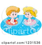Clipart Of A Caucasian Boy And Girl Swimming With Inner Tubes Royalty Free Vector Illustration