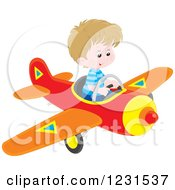Clipart Of A Caucasian Boy Flying A Plane Royalty Free Vector Illustration by Alex Bannykh