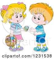 Clipart Of A White Boy And Girl Exchanging An Easter Egg Royalty Free Vector Illustration by Alex Bannykh