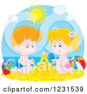 Clipart Of A Caucasian Boy And Girl Making A Sand Castle Royalty Free Vector Illustration