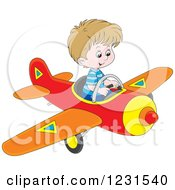 Clipart Of A Caucasian Boy Flying An Airplane Royalty Free Vector Illustration by Alex Bannykh