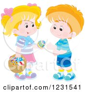 Clipart Of A Caucasian Boy And Girl Exchanging An Easter Egg Royalty Free Vector Illustration