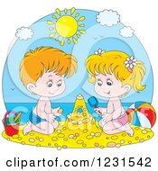 Clipart Of A White Boy And Girl Making A Sand Castle Royalty Free Vector Illustration