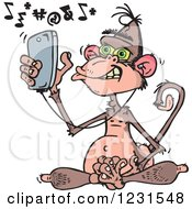 Clipart Of A Mad Wise Monkey Texting And Listening To Music On A Cell Phone Royalty Free Vector Illustration