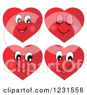 Clipart Of Red Valentine Heart Emoticon Faces With Different Expressions 2 Royalty Free Vector Illustration by visekart