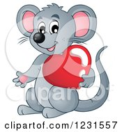 Clipart Of A Cute Gray Mouse Holding A Valentine Heart Royalty Free Vector Illustration by visekart