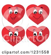 Clipart Of Red Valentine Heart Emoticon Faces With Different Expressions Royalty Free Vector Illustration by visekart