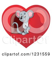 Clipart Of A Happy Mouse Looking Through A Window In A Heart Royalty Free Vector Illustration
