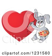 Clipart Of A Valentine Bunny Rabbit Painting A Heart Royalty Free Vector Illustration