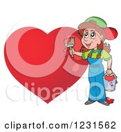 Clipart Of A Young Woman Painting A Red Heart Royalty Free Vector Illustration by visekart