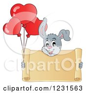 Clipart Of A Valentine Bunny Rabbit With Heart Balloons And A Scroll Sign Royalty Free Vector Illustration