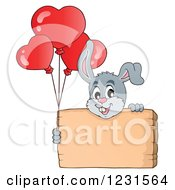 Clipart Of A Valentine Bunny Rabbit With Heart Balloons And A Wood Sign Royalty Free Vector Illustration