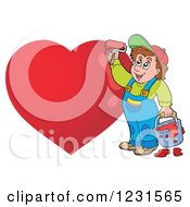 Clipart Of A Happy Man Painting A Red Heart Royalty Free Vector Illustration by visekart