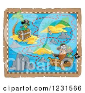 Clipart Of A Pirate Rowing A Boat On A Treasure Map Royalty Free Vector Illustration