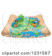 Clipart Of A Pirate Parrot Over A Parchment Treasure Map Royalty Free Vector Illustration