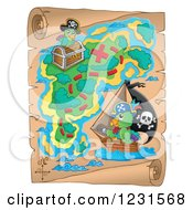 Clipart Of A Parchment Treasure Map With Pirate Parrots Royalty Free Vector Illustration
