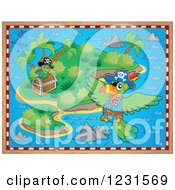 Clipart Of A Treasure Map Island With Parrots Royalty Free Vector Illustration