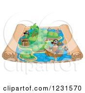 Clipart Of A Pirate Rowing A Boat On A Parchment Treasure Map Royalty Free Vector Illustration
