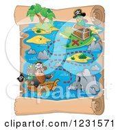 Clipart Of A Pirate Rowing On A Parchment Treasure Map Royalty Free Vector Illustration