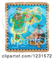 Clipart Of A Pirate On A Boat On A Treasure Map Royalty Free Vector Illustration