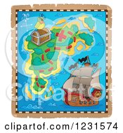 Clipart Of A Pirate Ship And Parrot On A Treasure Map Royalty Free Vector Illustration