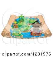 Clipart Of A Pirate Ship On A Parchment Treasure Map Royalty Free Vector Illustration