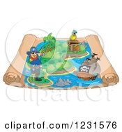 Clipart Of A Pirate Captain And Ship On A Parchment Treasure Map Royalty Free Vector Illustration