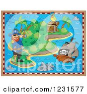 Clipart Of A Captain Pirate Ship And Parrot On A Treasure Map Royalty Free Vector Illustration