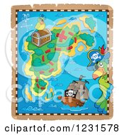 Clipart Of A Pirate Ship And Parrots On A Treasure Map Royalty Free Vector Illustration