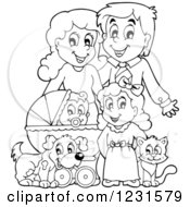 Happy Outlined Parents With A Baby Daughter Dog And Cat