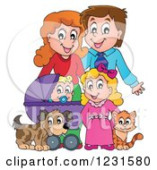 Clipart Of Happy Parents With A Baby Daughter Dog And Cat Royalty Free Vector Illustration