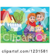 Clipart Of Happy Parents With A Baby Daughter Dog And Cat In A Yard Royalty Free Vector Illustration by visekart