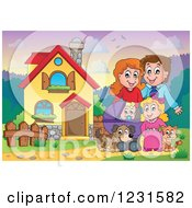 Clipart Of Happy Parents With A Baby Daughter Dog And Cat In Their Front Yard Royalty Free Vector Illustration by visekart