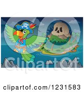 Clipart Of A Pirate Parrot Near A Skull Island Royalty Free Vector Illustration