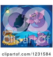 Clipart Of Bats In A Cave With Pirate Booty Royalty Free Vector Illustration
