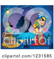 Clipart Of A Pirate Parrot And Girl With Treasure In A Cave Royalty Free Vector Illustration