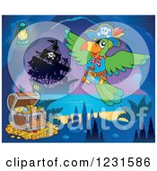 Clipart Of A Pirate Parrot With Treasure In A Cave Royalty Free Vector Illustration