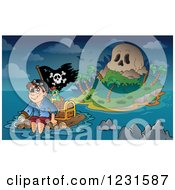 Clipart Of A Pirate Floating Away From A Skull Island Royalty Free Vector Illustration