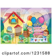 Clipart Of A Birthday Party Kids In A Homes Front Yard Royalty Free Vector Illustration