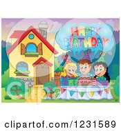 Clipart Of Birthday Party Kids With A Greeting In A Homes Front Yard Royalty Free Vector Illustration by visekart