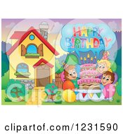 Clipart Of Birthday Party Kids With A Greeting In A Homes Front Yard 2 Royalty Free Vector Illustration by visekart