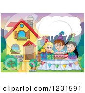 Clipart Of A Talking Birthday Party Kids In A Homes Front Yard Royalty Free Vector Illustration