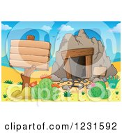 Clipart Of A Wooden Sign Post By A Mining Cave In A Desert Royalty Free Vector Illustration by visekart