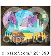 Clipart Of Bats In A Cave With A Mining Cart Royalty Free Vector Illustration by visekart