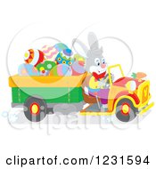 Clipart Of A Happy Easter Bunny Driving A Truck Full Of Eggs Royalty Free Vector Illustration