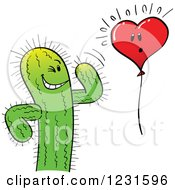 Clipart Of A Spiky Cactus And Scared Heart Balloon Royalty Free Vector Illustration