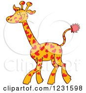 Clipart Of A Happy Giraffe Spotted With Hearts Royalty Free Vector Illustration by Zooco