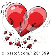 Clipart Of A Broken Red Heart Quaking Royalty Free Vector Illustration